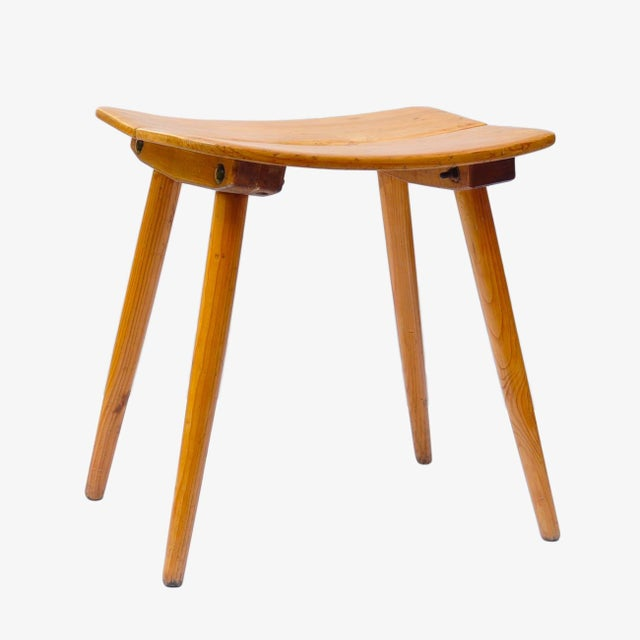 Pine Jacob Muller Stool for Wohnhilfe, Switerland 1950s For Sale - Image 7 of 7