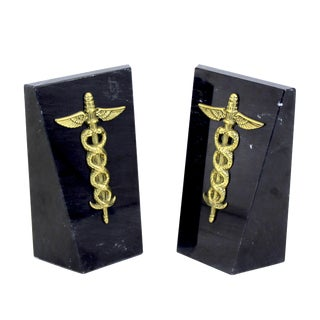 Vintage Brass Medical Caduceus Bookends - a Pair For Sale