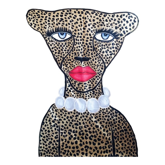 Portraiture Golden Glam Cheetah Painting by Kendra Dandy *Price Is Firm* For Sale - Image 3 of 3