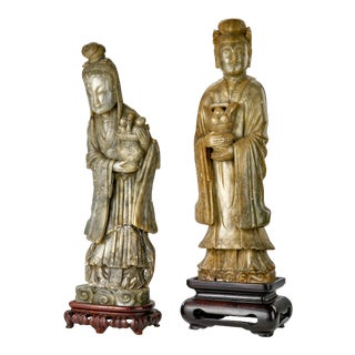 Late 19th Century Asian Jade Sculptures - Male and Female Ritual Figures With Fruit Basket Offerings - a Pair For Sale