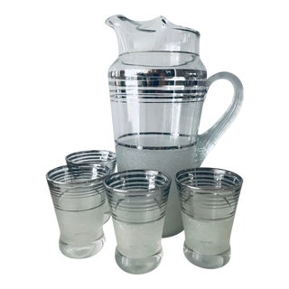 Art Deco MacBeth-Evans Platinum Bands Cocktail Pitcher and Glasses - Set of 5 For Sale