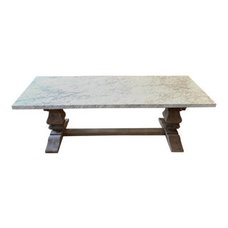 Rustic Restoration Hardware Marble Trestle Dining Table For Sale