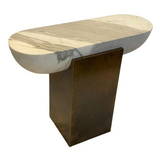 Pill Side Table - Brass and Marble For Sale