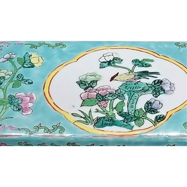 Ceramic Vintage Light Blue Chinese Famille Rose Porcelain Box With Flowers and Phoenix - Asian Oriental Palm Beach Boho Chic Mid Century For Sale - Image 7 of 12