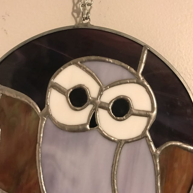 Hanging Stained Glass Owl For Sale - Image 4 of 8