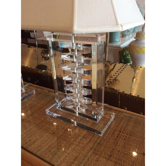Hollywood Regency Lucite Stacked Table Lamps - a Pair For Sale - Image 9 of 11