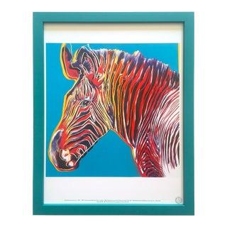 """Andy Warhol Estate Vintage 1989 Endangered Species Framed Lithograph Print """" Grevy's Zebra """" 1983 For Sale"""