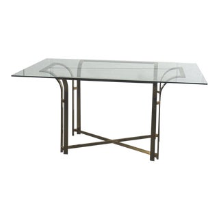 Sculptural Brass and Glass Pedestal Dining Table For Sale