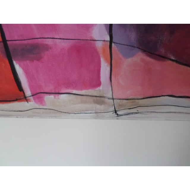"""Canvas Abstract Oil on Canvas by May Bender, """"Red Intrinsic"""" '98 For Sale - Image 7 of 13"""