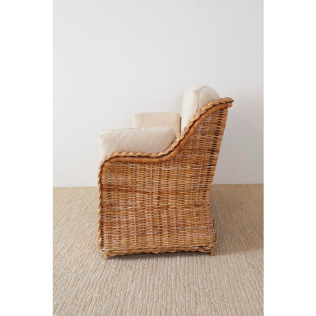 Pair of Organic Modern McGuire Style Rattan Wicker Sofas For Sale - Image 9 of 13