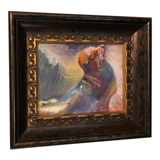 Original Seal Sea Lion Oil Painting in Wood Frame For Sale