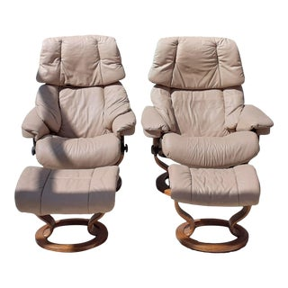 Ekornes Stressless Leather Recliners With Ottomans, 4 Pieces For Sale
