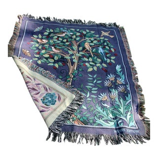 """Arts and Crafts Style """"Tree of Birds"""" in Aubergine Jacquard Woven Throw Blanket For Sale"""