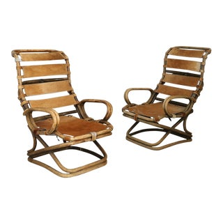 Pair of Armchairs by Tito Agnoli for Bonacina in Rattan and Horse Horse Skin For Sale