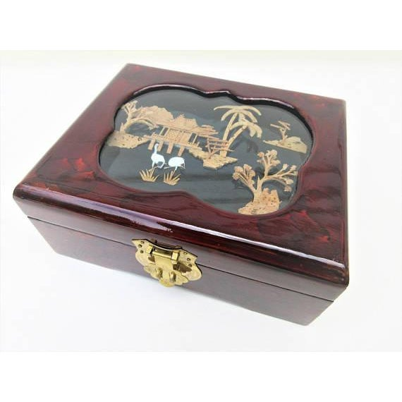 Vintage Wooden Lacquer Box   Jewelry Organizer - Image 6 of 7