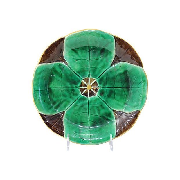 Country Antique Majolica Lily Pad Plate For Sale - Image 3 of 3