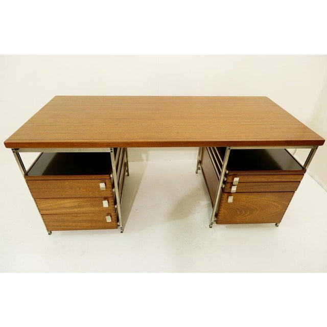 Mid-Century Modern Desk by Jules Wabbes for Foncolin, Belgium, 1957 For Sale - Image 3 of 13