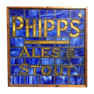 Vintage Mid Century Phipps Ale Stout Blue Stain Glass Window For Sale