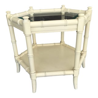 Cllear Glass Thomasville Vintage Chinoiserie Faux Bamboo Side Table For Sale