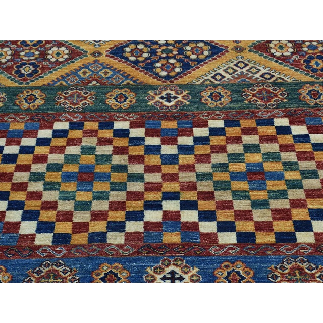 Kazak Khorjin Hand-Knotted Pure Wool Rug For Sale - Image 9 of 13