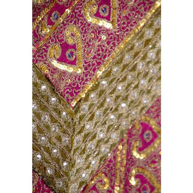 Mughal Style Metal Threaded Tapestry Framed from Rajasthan, India For Sale - Image 10 of 13