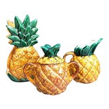 Image of 1970s Ceramic Pineapple Serving Set - Set of 3 For Sale