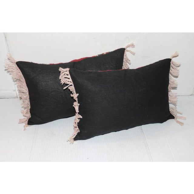 Pair of Geometric Indian Weaving Fringed Pillows - Image 2 of 3