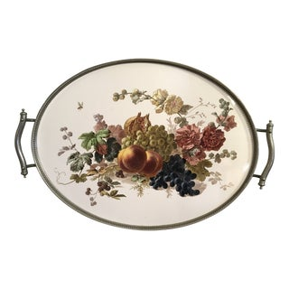 English Porcelain Ceramic Floral and Fruit Design Serving Gallery Tray For Sale