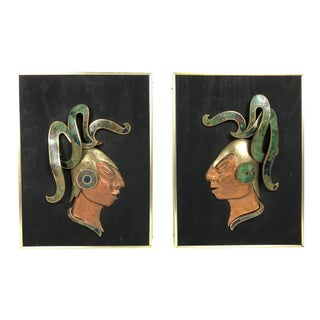 Los Castillo Modernist Mayan Wall Sculptures - a Pair For Sale