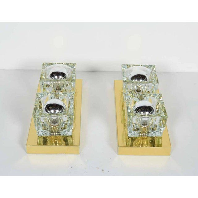 Pair of Mid-Century Modern Brass and Glass Cube Sconces by Gaetano Sciolari For Sale In New York - Image 6 of 11