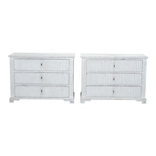 Swedish Painted and Reeded Three-Drawer Chests - a Pair