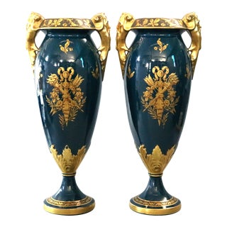 Mid 20th Century Oversized French Limoges Figural Gilt Porcelain Vases - A Pair For Sale