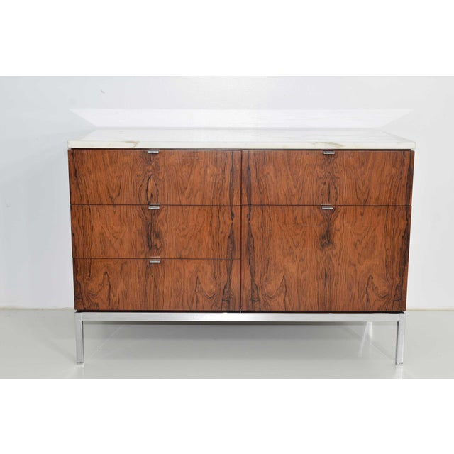 Brown Florence Knoll Rosewood Credenza With Calacatta Marble Top For Sale - Image 8 of 9