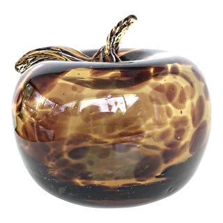 Vintage Mid-Century Murano Blown Art Glass Tortoise Amber Apple Figurine