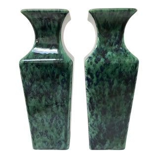 Modern Haeger Green and Blue Vases - A Pair
