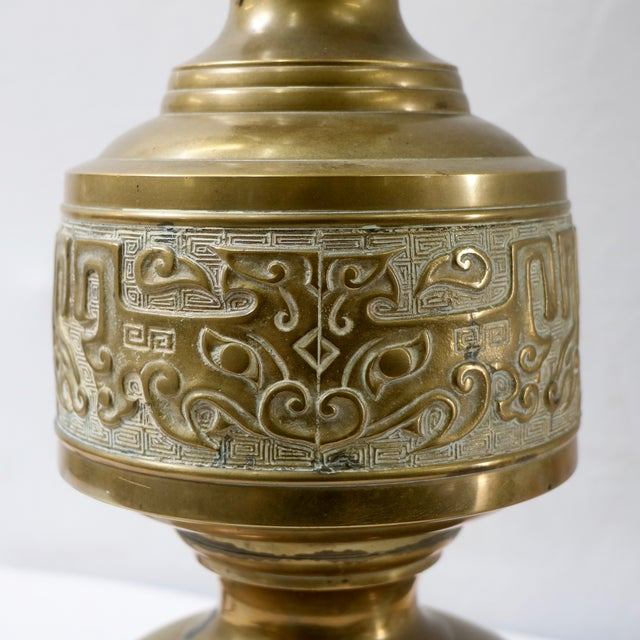 Mid-Century Chinese Brass Table Lamps - Pair - Image 7 of 9