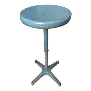 1960s Industrial Blue Cast Iron Adjustrite Stool