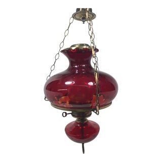 Vintage Mid 20th Century Electric Hanging Library Oil Lamp with Cranberry Ruby Red Glass Shade For Sale