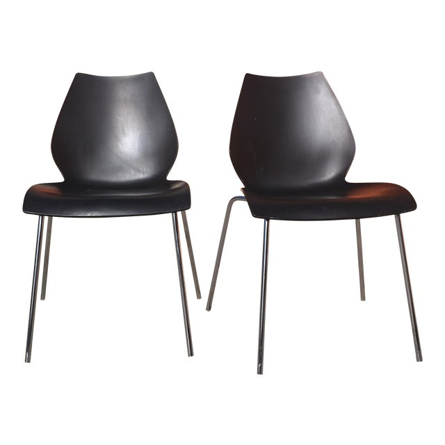vico magistretti for kartell anthracite maui chairs a pair chairish