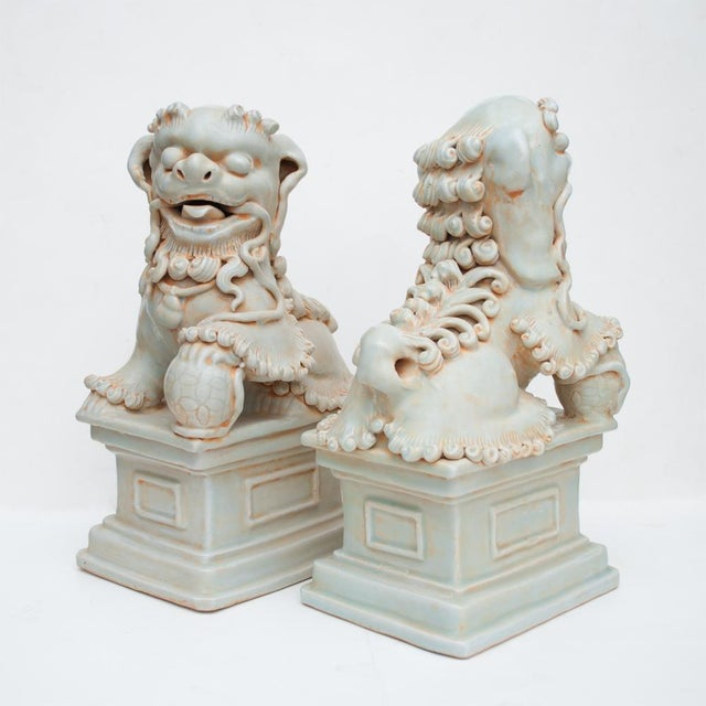 20th Century Large Chinese Celadon Foo Lions - a Pair For Sale - Image 9 of 13