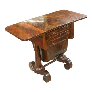 American Empire Drop-Leaf Flame Mahogany Sewing Table For Sale
