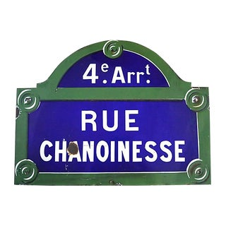 Vintage Paris Notre Dame Area Street Sign