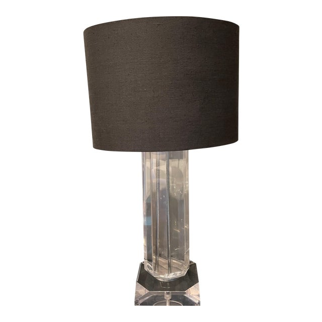 Chrome and Lucite Mid-Century Modern Octagonal Table Lamp For Sale