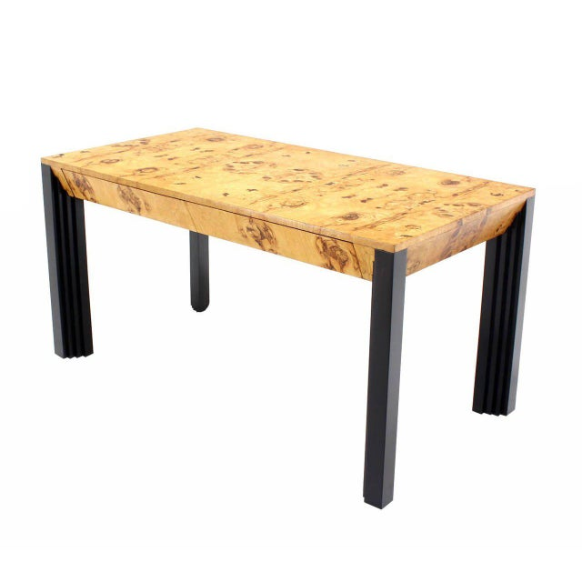 Mid-Century Modern Burl Wood Black Lacquer Legs Writing Table or Desk Two Drawers. For Sale - Image 3 of 8