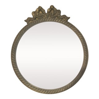 Antique Hollywood Regency Wooden Gold Bow Round Picture Frame For Sale