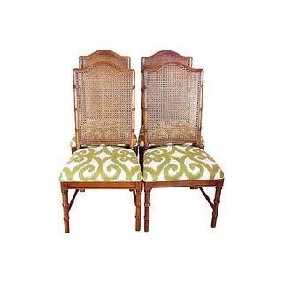 Dixie Faux Bamboo & Cane Side Chairs - Set of 4 For Sale