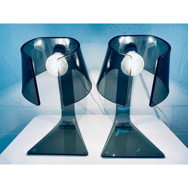 Gray Pair of L'astra Smoked Gray Glass Table or Desk Lamps by Fiam Italia For Sale - Image 8 of 13