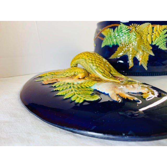 Ceramic Mid 19th Century Antique Majolica Cobalt Blue Rabbit and Game Bird Tureen Dish With Lid by Brownfield For Sale - Image 7 of 11