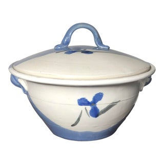 Blue and Cream Signed Studio Pottery Covered Tureen For Sale