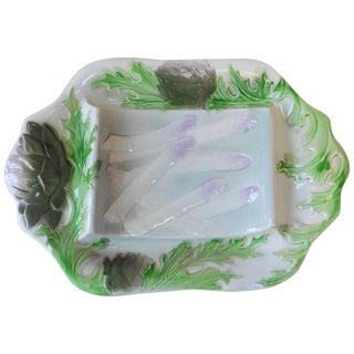 Majolica Asparagus Platter Keller and Guerin Saint Clement, Circa 1900 For Sale